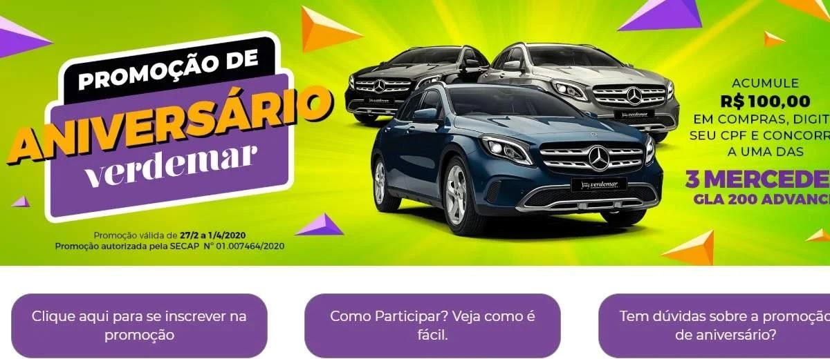 Promoção Verdemar 2020 Aniversário 27 Anos  3 Mercedes GLA 200 - Supermercados