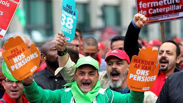 Thousands of Belgian workers rally in Brussels to protest planned labor law reforms