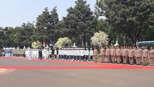Upacara Sertijab Menteri Pertahanan, Prabowo Subianto Cek Pasukan
