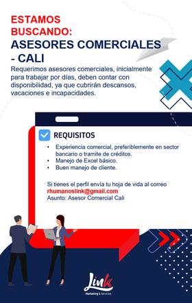 Empleo en Cali Hoy como Asesor Comercial