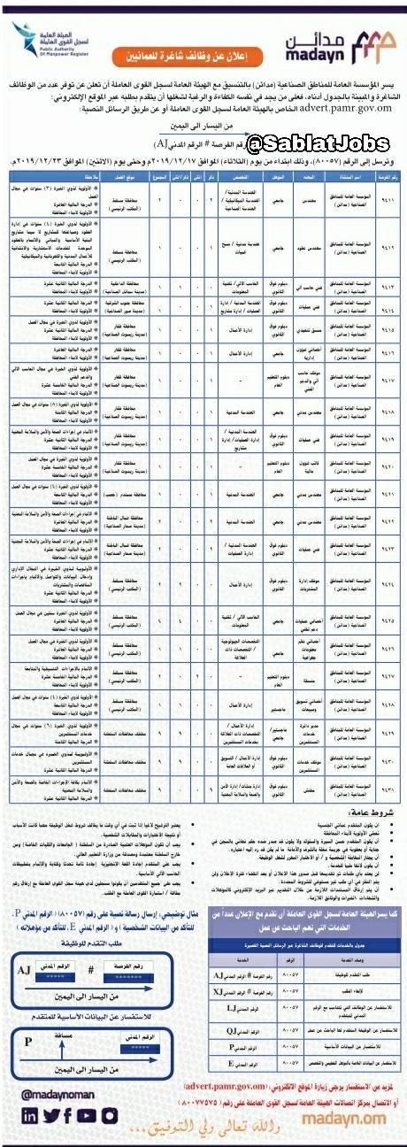 إعلان وظائف شاغرة للعمانيين في المؤسسة الصناعية مدائن