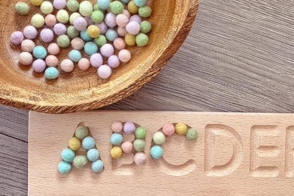 mini pastel rainbow felt balls