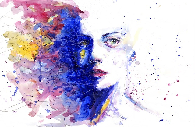 Artsy illustrated woman's face