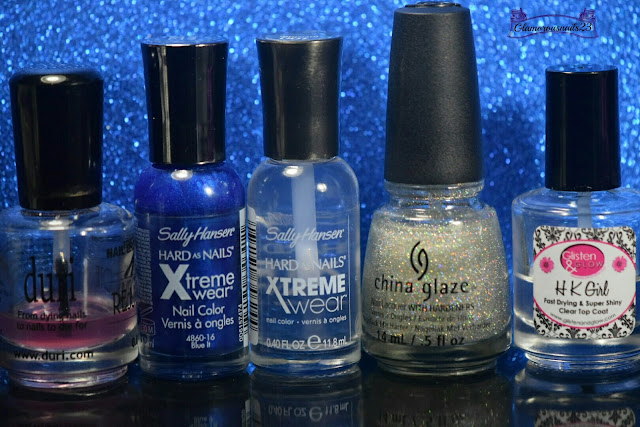 Duri Rejuvacote, Sally Hansen Xtreme Wear Blue It, Sally Hansen Xtreme Wear Invisible, China Glaze Fairy Dust, Glisten & Glow HK Girl Fast Drying Top Coat