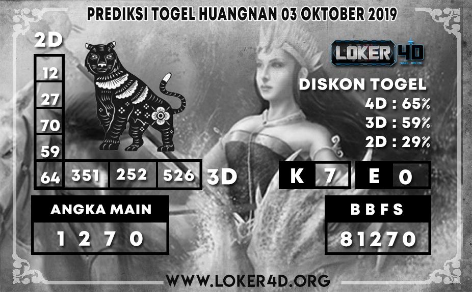 PREDIKSI TOGEL HUANGNAN LOKER4D 03 OKTOBER 2019