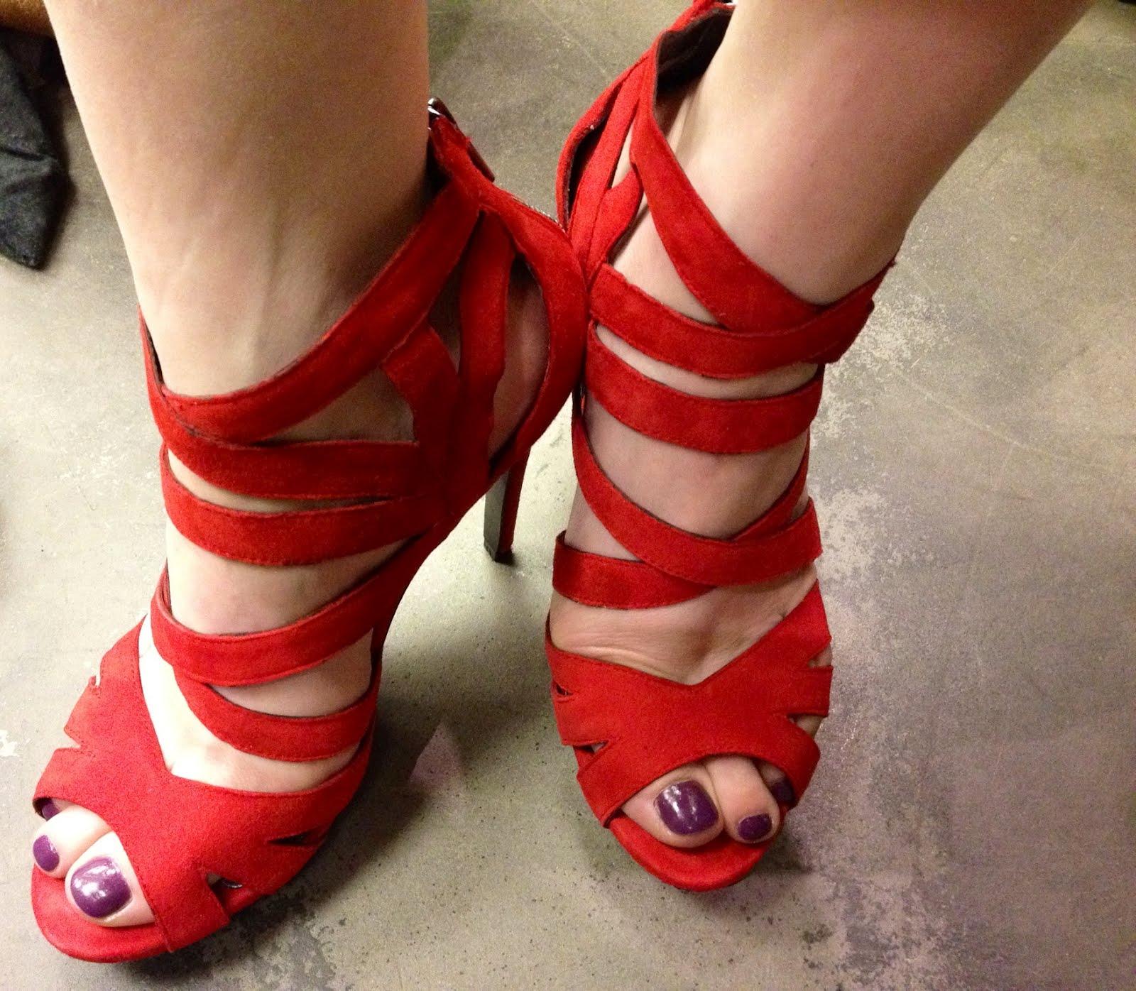 Red Strappy Sandals Heels Is Heel