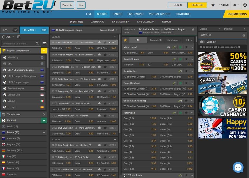 Bet2u deposit options