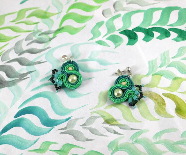 green soutache stud earrings, small danle earrings, handmade jewelry,