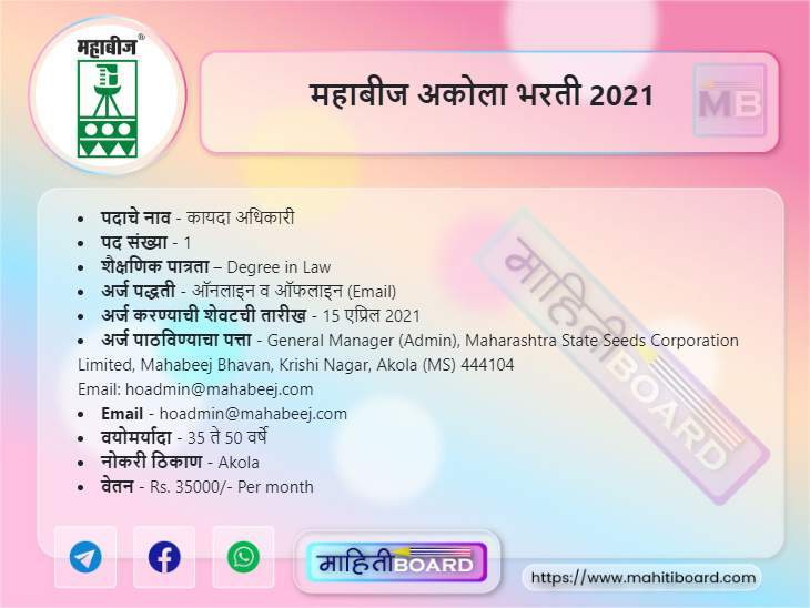 MahaBeej Akola Bharti 2021