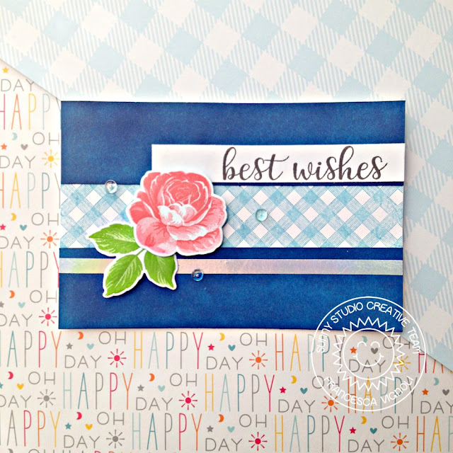Sunny Studio Stamps: Everything's Rosy Everyday Greetings Background Basics Best Wishes Card by Franci Vignoli