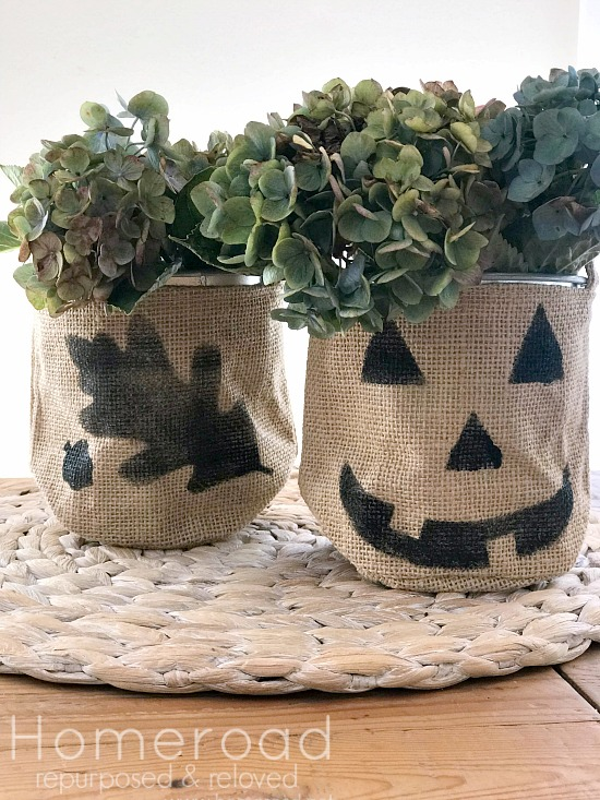 Pumpkin and leaf stenciled bags with hydrangeas
