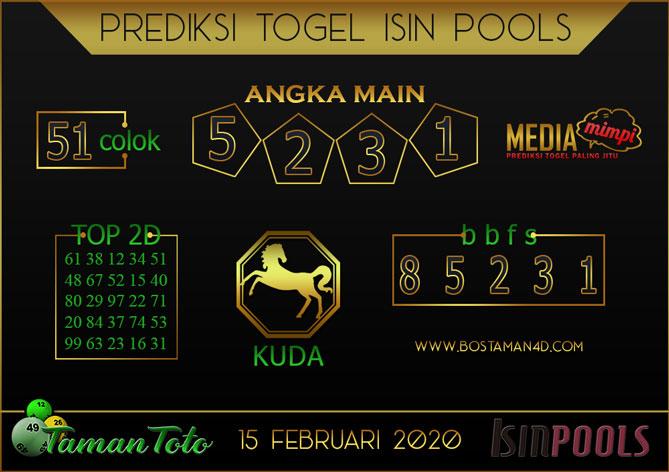 Prediksi Togel ISIN TAMAN TOTO 15 FEBRUARY 2020