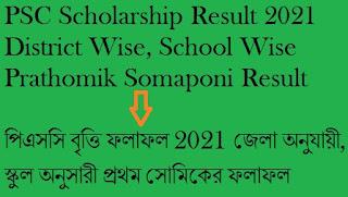 dpe.gov.bd PSC Scholarship Result 2021