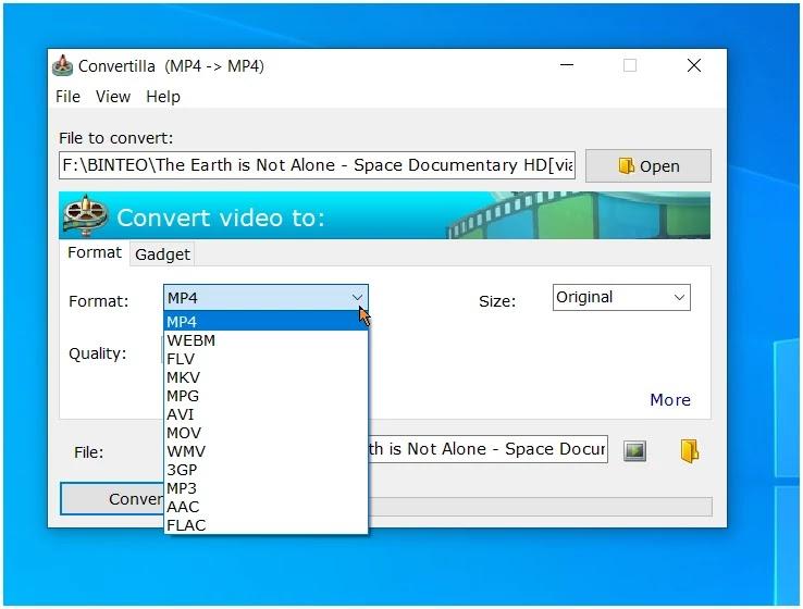 Convertilla :  Απλό δωρεάν πρόγραμμα για τη μετατροπή  αρχείων βίντεο και μουσικής.