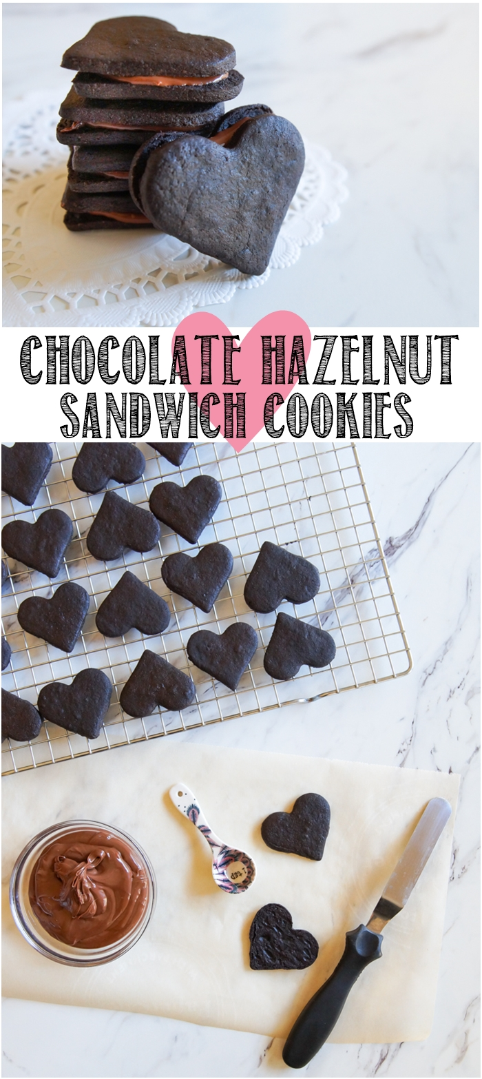 Heart-Shaped Chocolate Hazelnut Sandwich Cookies ♥ bakeat350.net
