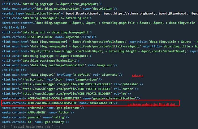 Verift Webmaster Bing blogger