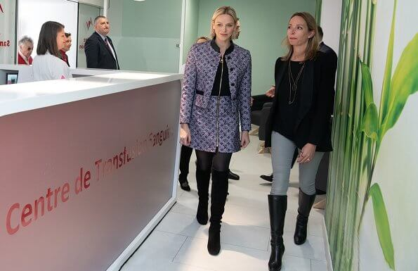 Princess Charlene wore Louis Vuitton lurex monogram tweed fitted jacket and bi-material dress and Dior stretch suede boots