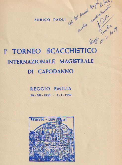 Detalle de la portada del libro-folleto del I Torneo Scacchistico de Regio Emilia