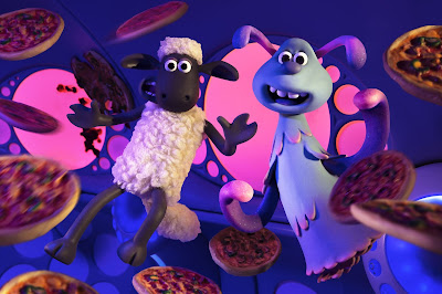 "In ""A Shaun the Sheep Movie: Farmageddon,"" Shaun the Sheep and an alien named Lu-La enter zero gravity in a spaceship full of pizzas"