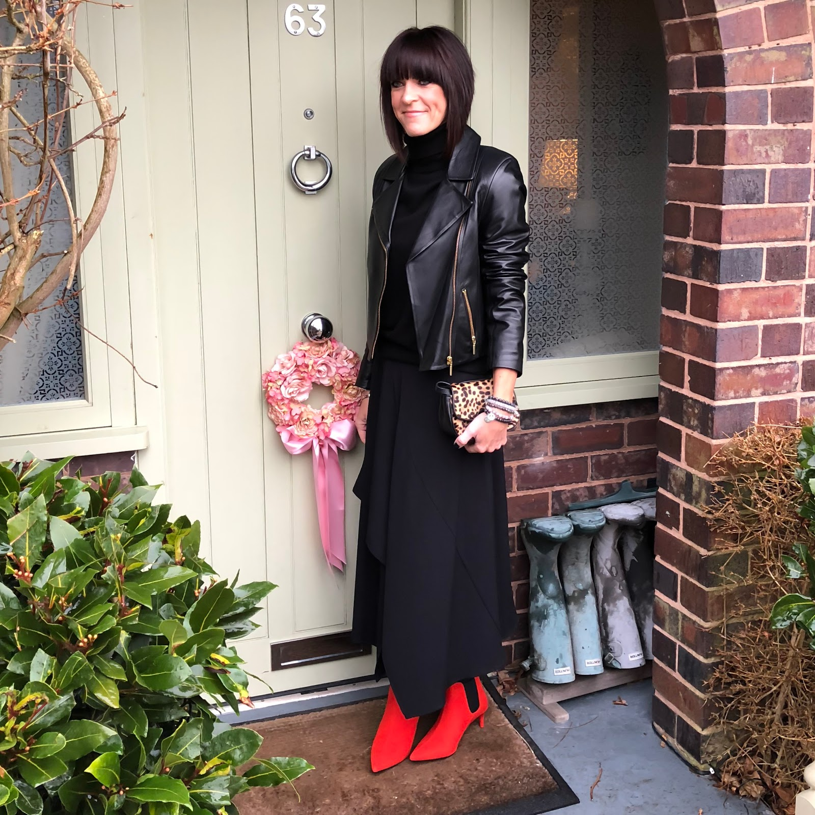 my midlife fashion, j crew leopard print bag, marks and spencer kitten heel pointed toe ankle boots, marks and spencer asymmetric panel detail midi skirt, marks and spencer pure cashmere roll neck sweater, baukjen leather everyday biker jacket