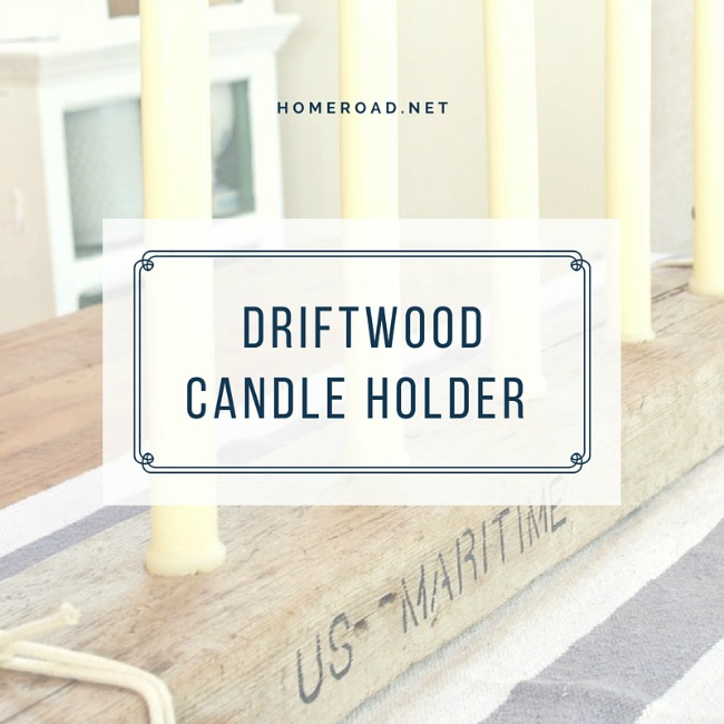 driftwood candle holder with overlay