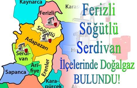 Ferizli,Söğütlü,Serdivan ilçelerinde doğalgaz bulundu.