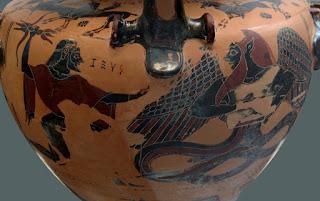 La batalla entre Tifón y Zeus en una antigua vasija griega