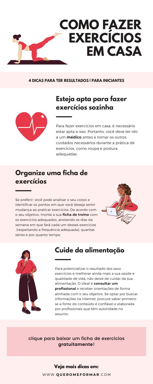 Infográfico com 4 Dicas para Fazer Exercícios em Casa