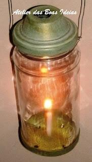 lanterna com pote de vidro