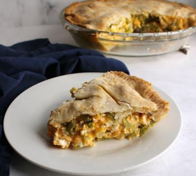 piece of cheesy ham and broccoli pot pie served