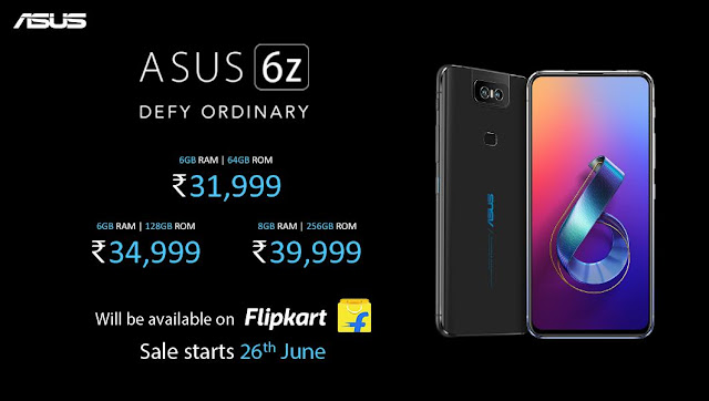 ASUS 6Z with flips up camera launched in India at Rs. 34,999