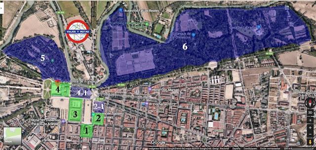 Mapa del Palacio real y los jardines de Aranjuez