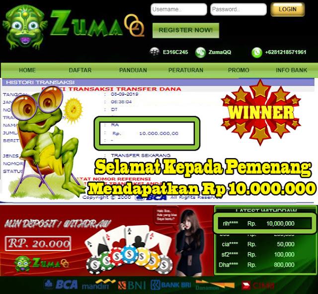 Selamat Kepada Pemenang Member Setia ZumaQQ Periode 8 September 2019