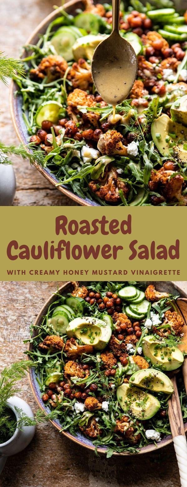 Roasted Cauliflower Salad with Creamy Honey Mustard Vinaigrette