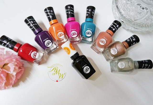 A photo of Sally Hansen New MIracle Gel Top Coat and Tribal Vibe and Boho Chic Collection