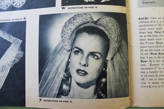 free 1940s heart shaped bridal veil crochet pattern