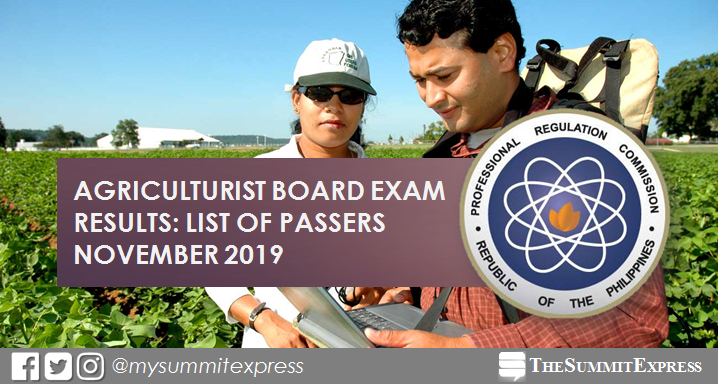 FULL RESULTS: November 2019 Agriculturist board exam list of passers, top 10