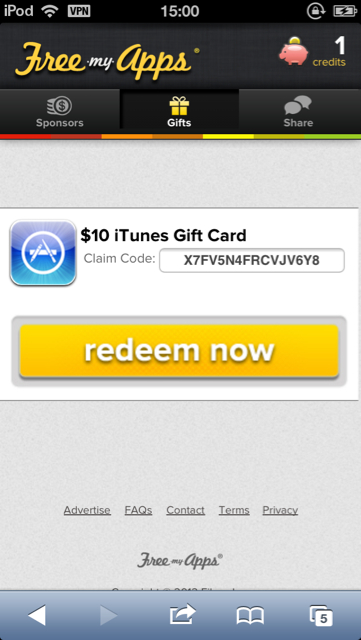 Payment Proof : $10 iTunes Gift Card From FreeMyApps - Rewards From