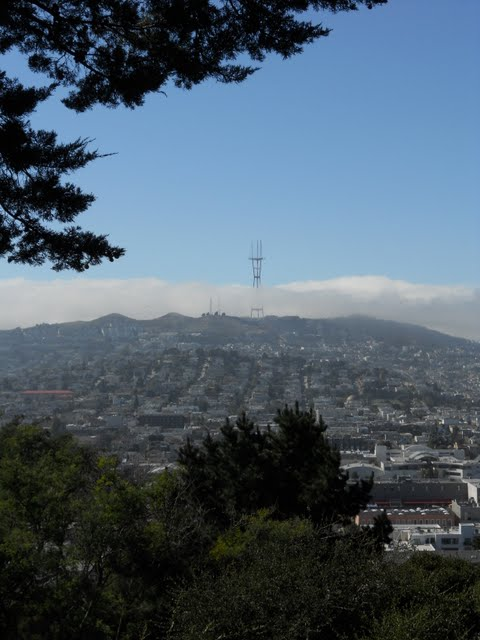 View of Twins Peaks in San Francisco form Potrero Hill