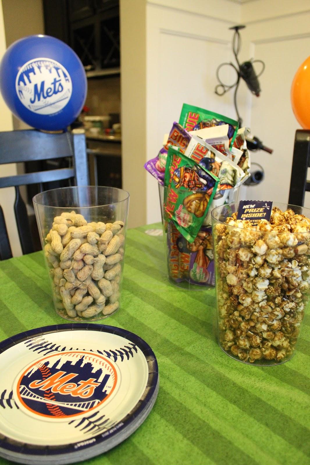 Take me out to the ballgame Baseball party, cracker jacks, big league chew, mets
