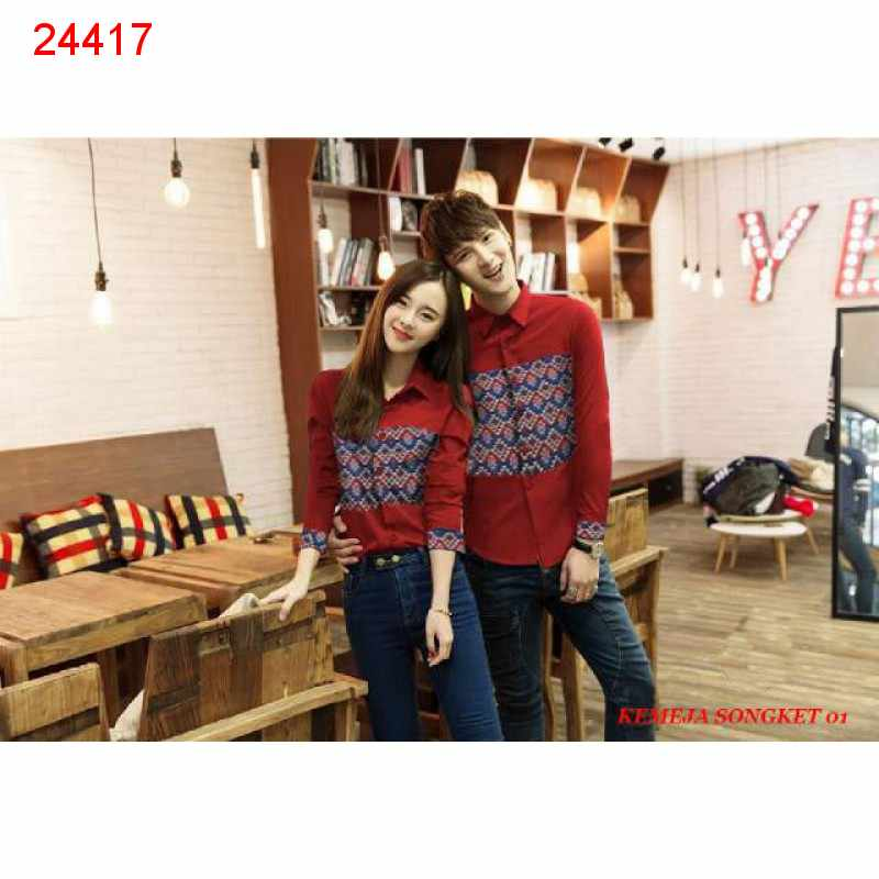 Jual Kemeja Couple Kemeja Songket 01 Merah - 24417