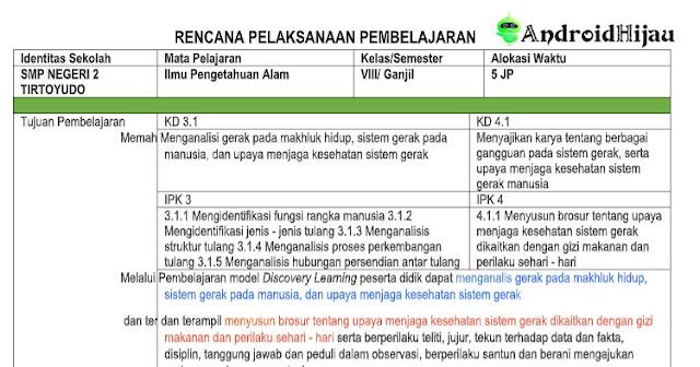 RPP Daring Kelas 8 SMP/MTS IPA, RPP 1 lembar kurikulum 2013 kelas 8 IPA, RPP 1 halaman revisi 2020 kelas 8 IPA
