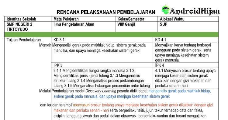 Rpp Daring 1 Halaman Kelas 8 Smp Mts Ipa Revisi 2020 Android Hijau