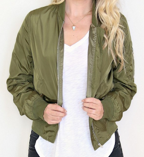 madison + mallory olive bomber jacket