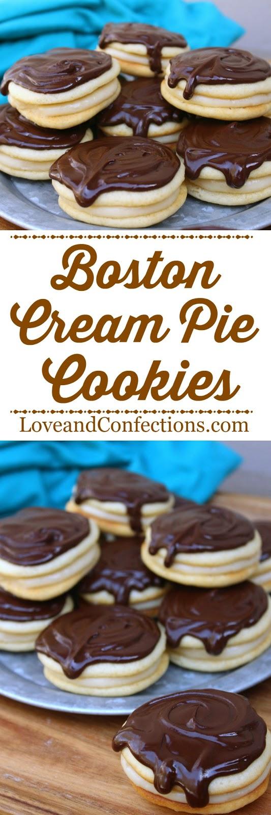 Boston Cream Pie Cookies from LoveandConfections.com