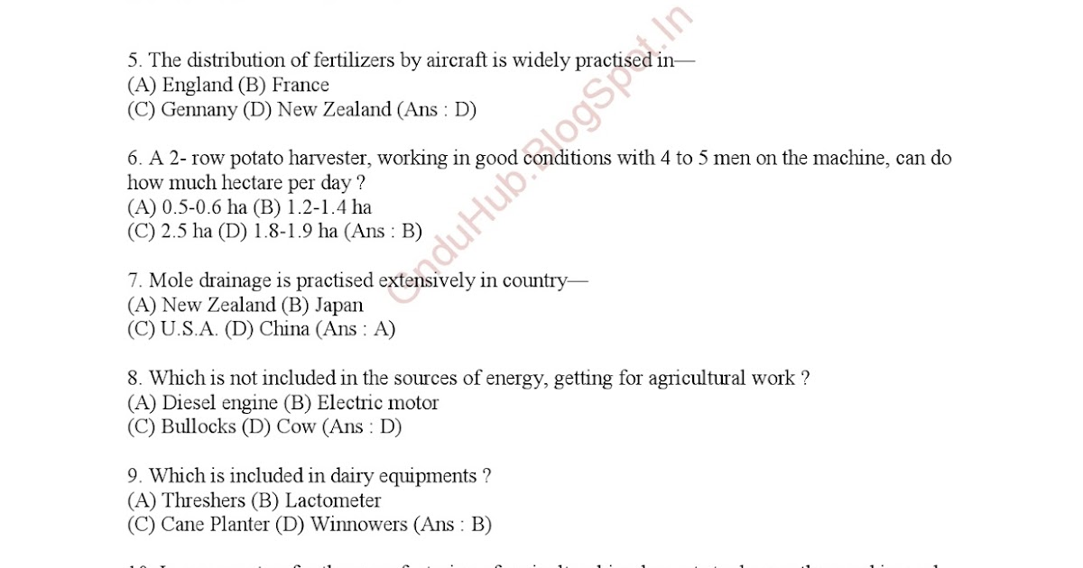 Agriculture 100 General Knowledge MCQ PDF ~ Next Generation