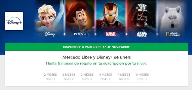 Disney Plus + Gratis con Mercado Libre