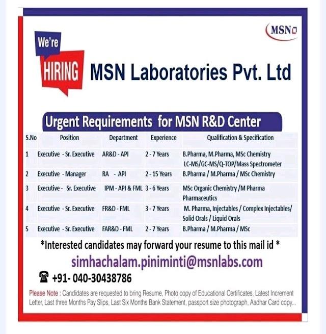 MSN Laboratories Pvt.Ltd Rquirmnets-AR&D,RA-API/IPM-API&FML/FR&D,FAR&D-FML Apply Online