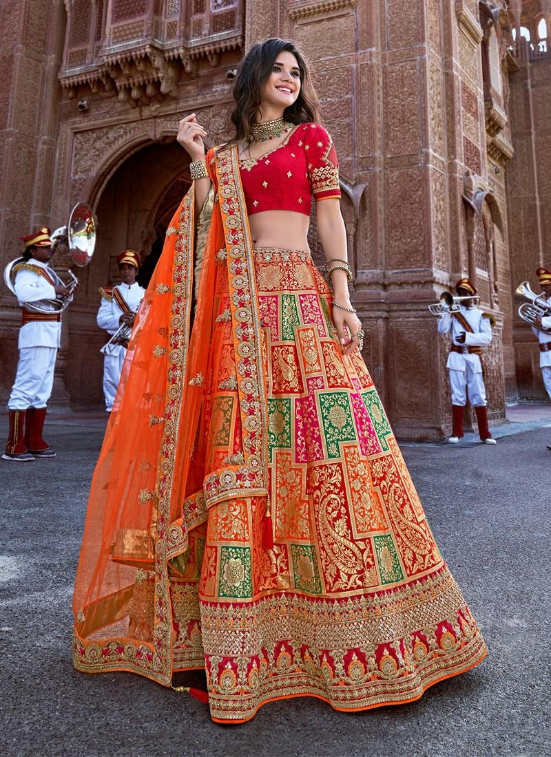 Gorgeous Orange Bridal Lehenga for Inspiration