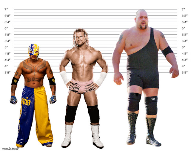 Dolph Ziggler height comparison with Rey Mysterio and Big Show
